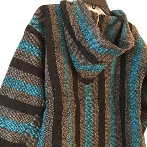 Festival Hippie Hoodie Mexican Blanket Style M